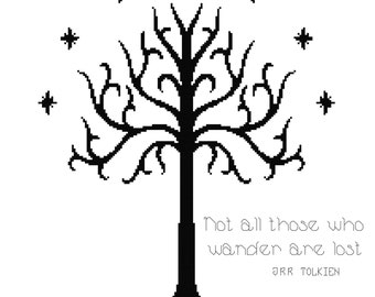 Tree of Gondor Quote Cross Stitch Pattern (PDF Instant Download)