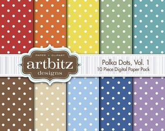 """Polka Dots Vol. 1, 10 Piece Digital Scrapbook Paper Pack, 12""""x12"""", 300 dpi .jpg, Instant Download!"""