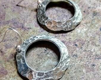 As seen on This Is Us Season 2 Episode 9  hand forged scalloped hoop metal earrings//metal earrings//earrings//minimalist