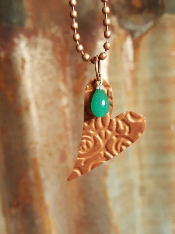 Embossed Copper Heart Pendent with Jade Bead Accent