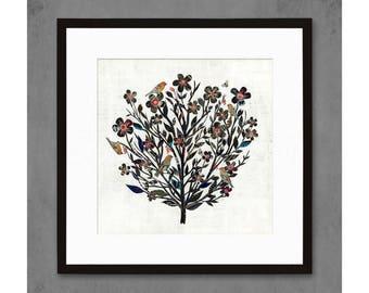 Blackberry Rose Bird and Floral Art Print