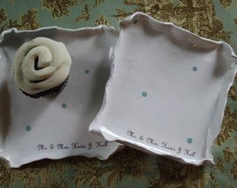 Holiday Personalized Dessert Plate Mr. Mrs. Plate Blue White Polka Dot Wedding Gift, Dishes, wedding cake plates