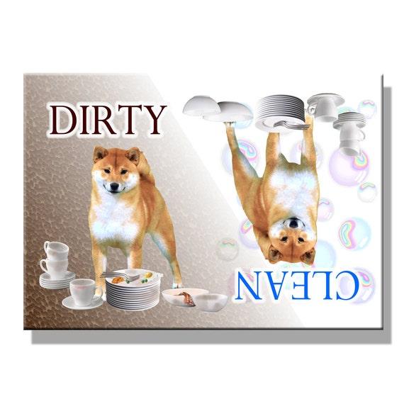 Shiba Inu Clean Dirty Dishwasher Magnet No 1