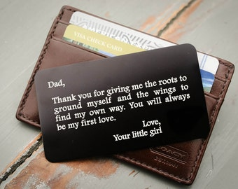 Custom Wallet Insert, Father of the Bride Gift, Personalized Wallet Card, Metal Wallet Insert: Valentine's Day, Anniversary Gift for Him