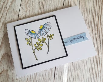 Blue daisy handmade sympathy card / Handmade condolence card / With sympathy card / Sorry for your loss /