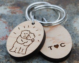 Your Child's Art Personalized Sketch Keychain Kid Art Child's Drawing Custom Handwriting Grandparents Mothers Day Fathers Day