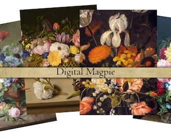 Antique Floral digital decoupage paper scrapbook paper pack printable flowers still life images floral art dark colors for crafts