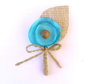 Groom's buttonhole, men boutonniere, wedding boutonniere, fabric boutonniere