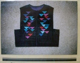 Prairie Point Vest Sizes 6-22 Pattern 104 from Blue Ribbon Patterns - Semi-fitted Vest with Pieced Points NEW Pattern Dated 1989