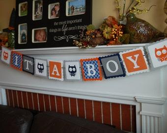 Owl It's A Boy Banner, Owl Baby Shower Banner, Owl Theme, Owl Banner, Grey Navy Orange