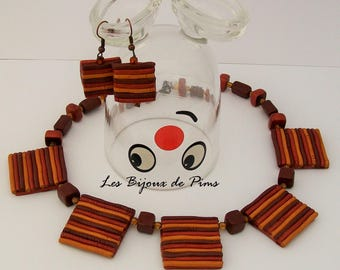Brown degrade with polymer clay jewelry set