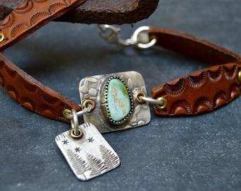 Sterling Turquoise with Brown Matrix Bracelet. Boho. Turquoise .Hand Stamped. Leather Links .Bracelet. Boho .
