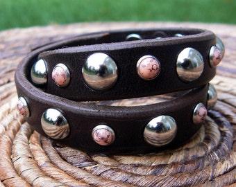 Coral Double Wrap Leather Bracelet | Biker Bracelet | Motorcycle Cuff | Silver Dome Studs Rivets | Gypsy Hippie Boho Wrist Wrap | Jewelry