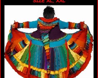 elf coat, size XL, XXL, eLF sWEATER, sweater coat, fairy coat, women hoodie, patchwork coat, hippie coat, medival coat, rainbow sweater
