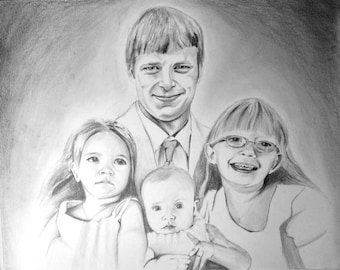 Family Portrait Drawing - Pencil Drawing from Photo - Custom Portrait - Graphite Drawing - Unique Father's Day Gift - Pencil Portrait