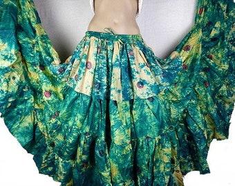 Green SKIRT dancing Gypsy silk Bohemian flamenco ample Andalusia ajf17 yellow-green boho gypsy