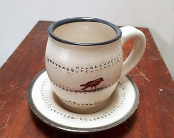 Poe Inspired Cappuccino Cup and Saucer by Bunny Safari