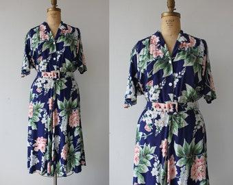 vintage 1980s dress / 80s navy floral dress / 80s romantic floral dress / 80s botanical dress / 80s boho shirtdress / large XL plus size