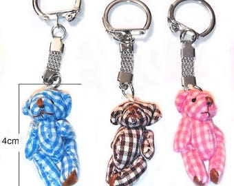 three cubs gingham 1lot: 1bleu 1marron and a 4cm on key silver 1rose