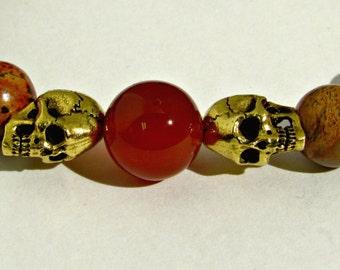 Mens Gold Skull Bracelet, Snakeskin Jasper Bracelet, Energy Bracelet, Two Gold Skulls, Chakra Bracelet, Gift For Him, Protecion Bracelet