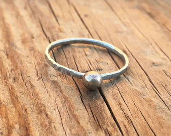 Made to Order Delicate Silver Ring with Brass Orb - Sterling Silver Stacking Ring - Minimal Jewelry - Minimal Ring