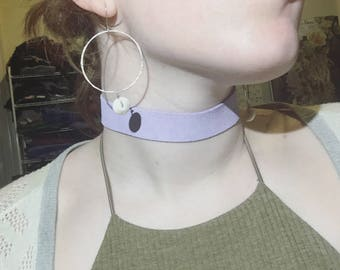 Thick Leather Choker (Lavender)
