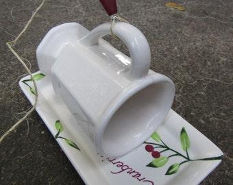 Bird Feeder - cranberry plate w/ white mug