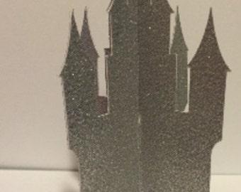 3D Glittered Fairytale Castle Centerpiece