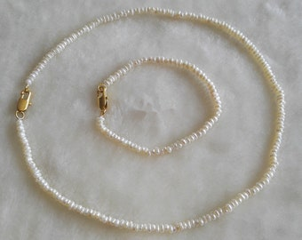 Pearl Set- baroque pearl necklace , white freshwater pearl necklace bracelet set, 2-3 mm pearl necklace, choker necklace