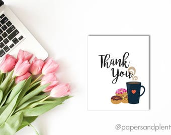 DIGITAL FILE - Coffee & Donuts Thank You Card | Baby Shower Thank You Card | Baby Sprinkle Thank You Card | Brunch Thank You