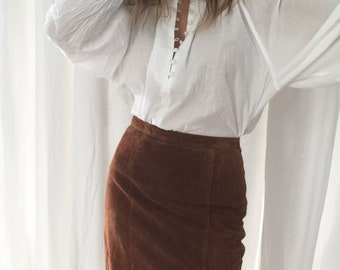 70s bodycon tan suede pencil skirt || size S
