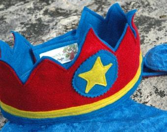 Super Hero Felt Crown BLUE and RED - Eco Felt or Wool Felt Crown - Party Crown
