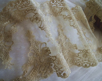 gold lace, golden embroidered lace trim, metiallic gold embroidered lace fabric
