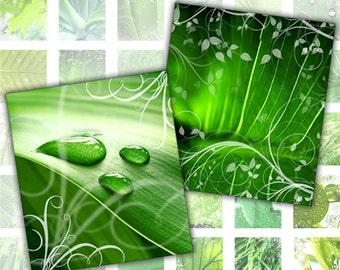 Green leafs macro digital collage sheet pedant size scrabble tile 0.75 x 0.83 inches (058) Buy 3 - get 1 free