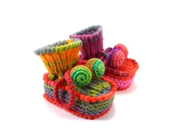 Baby Booties, Knitted Baby Boots, Knit Girl Shoes, Knitted Booties, - Pink, Green and Yellow, 3 - 6 months