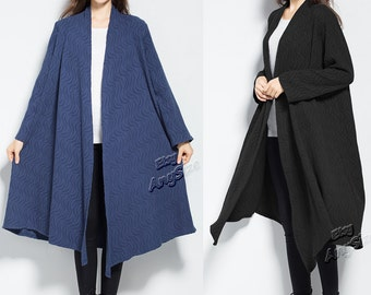 Anysize ripples jacquard Spring Fall Winter linen&cotton cardigan plus size dress plus size clothing plus size coat Y266
