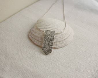 Sterling Silver Textured Pendant Necklace