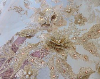 Sequined and beaded 3d flower applique motif fabric in GOLD for wedding gown, lace bodice, bridesmaid dresses