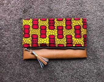 Ankara Print/Vegan Leather Fold-over Clutch Purse
