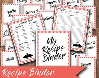 Recipe Binder   Cook Book   Recipe Book   Recipe Card   Instant Download   Printable