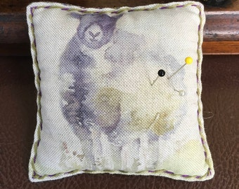 Sheep Pincushion, plaid and linen pinstore, Mother's Day gift idea, Woolly sheep and tartan cushion, Sewing notions, Free UK P and P,
