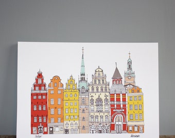 Stockholm Print A4 - Stockholm Cityscape - Scandinavian Print - Scandinavian Art