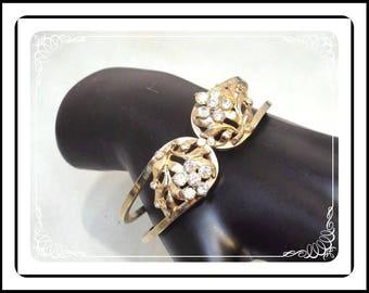 Hinged Rhinestone Flower Bracelet - Gold Tone Hinged Cuff - Vintage 1950s Floral Design - Brac-1945a-122312000