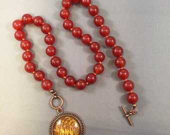 Red Carnelian Necklace with Copper Pendant