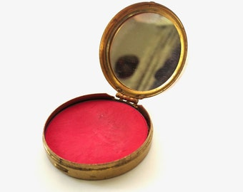 1950s Dorothy Gray Rouge Compact Mid Century Make up Movie Prop Deep Red Prey Blush Tiny Mirror Jackpot Jen Vintage