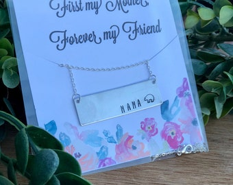 Mother's Day Custom Hand Stamped  Necklace || Silver || Choose Your Necklace & Card