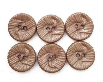 beige tan brown textured knot dseign nos stock buttons--matching lot of 6