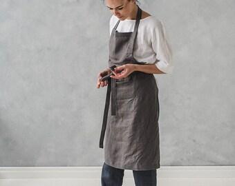 Washed Long Linen Apron / Bib Linen Apron / Linen Pinafore / Apron for Women and Men / Kitchen Linen Apron / Natural Soft Apron / Full Apron