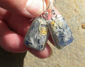 Indigo Colored Regency Plume Agate Earrings, Silver, Regency Plume Agate Doublet, Blue, White, Lemon Yellow, Earrings