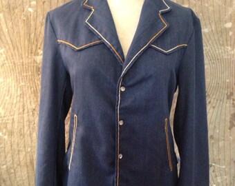 VTG 1970's Niver Western Wear Blue Jean Pleated Jacket